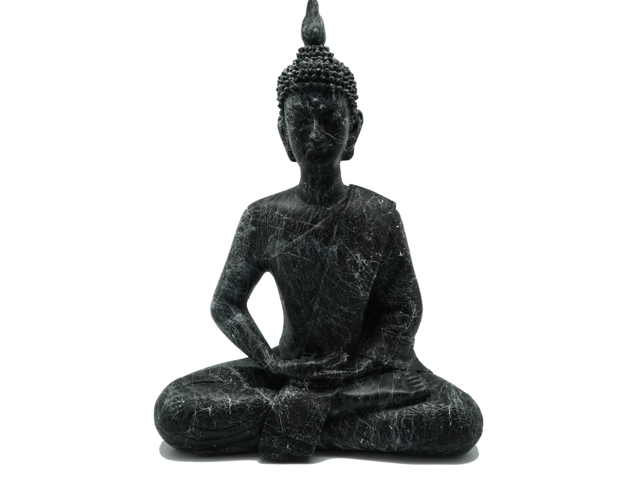 Χειροποίητο Γλυπτό Black Buddha από Αλάβαστρο